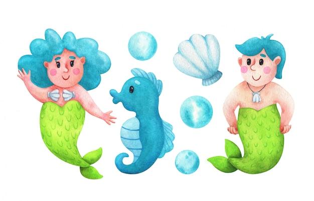 Meerjungfrau und aquaman mit blauen haaren, seepferdchen, muschel, blasen. kindisches illustrationsset