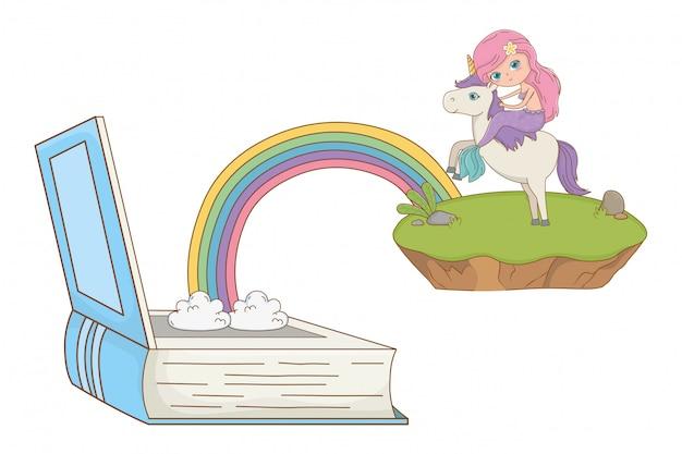 Meerjungfrau und einhorn der märchendesign-vektorillustration