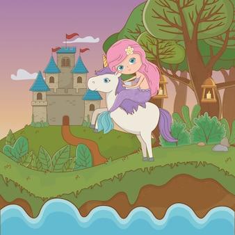 Meerjungfrau und einhorn des märchens