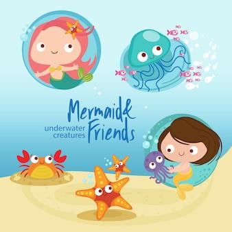 Meerjungfrau und freunde