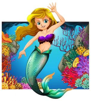 Meerjungfrau und unterwasserszene im hintergrund