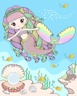 Meerjungfrau unter dem meer schwimmen