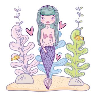 Meerjungfrau unter wasser schwimmen
