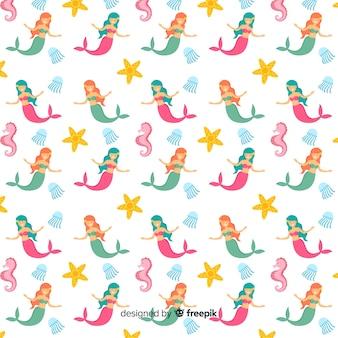 Meerjungfrauen, die flaches design des musters schwimmen