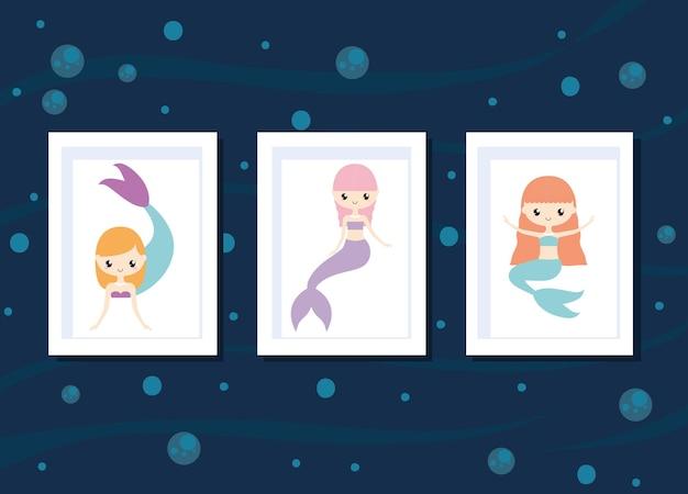 Meerjungfrauen karten gesetzt