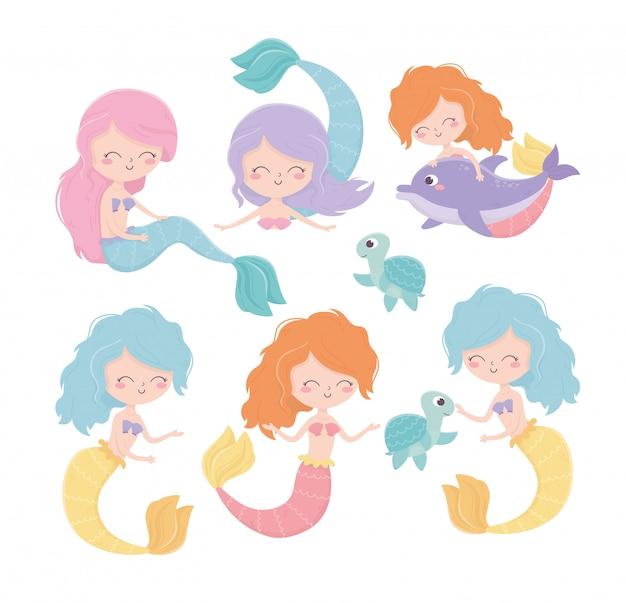 Meerjungfrauen-schildkröten-delphin-karikatur unter der seevektorillustration