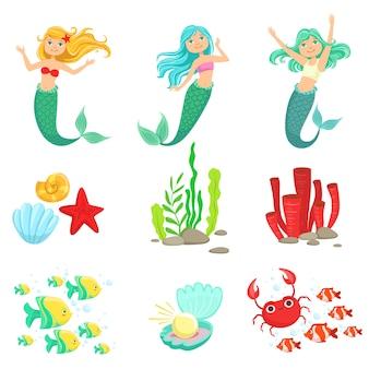 Meerjungfrauen und unterwasser-naturaufkleber