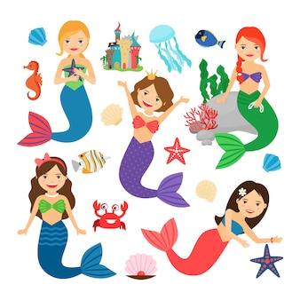 Meerjungfrauen zeichen gesetzt.