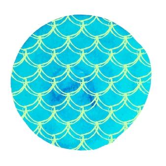 Meerjungfrauenschwanz auf aquarellhintergrund. helle farben.