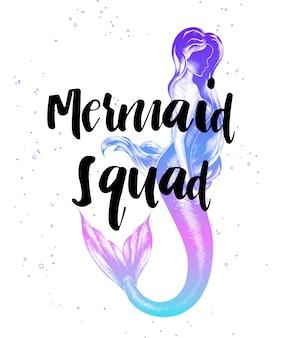 Meerjungfrauentrupp mit skizze des meerjungfraumädchens