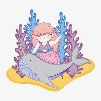 Meerjungfraufrau mit meerespflanzenpflanzen und narwal