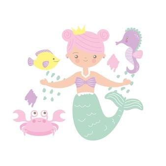 Meerjungfrauillustration mit krabben- und seepferdchenkarikatur. vektordesign