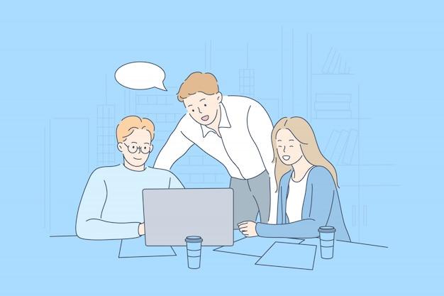 Meeting, coworking, teamwork, analyse, führungsgeschäftskonzept.