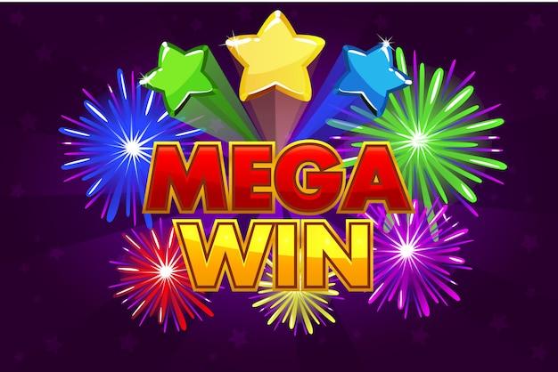Mega big win banner für lotterie- oder casinospiele. schießen von farbigen sternen und feuerwerk