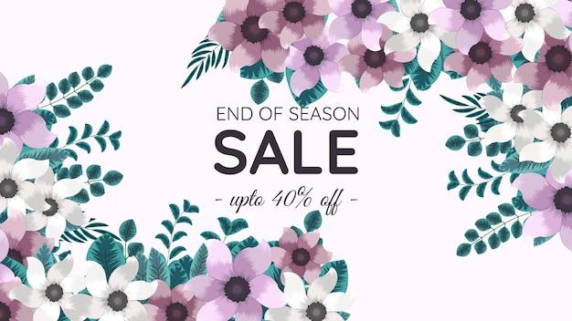 Mega ende der saison verkauf web-banner mehrfarbige editierbare florale hintergrundvorlage mit blumen