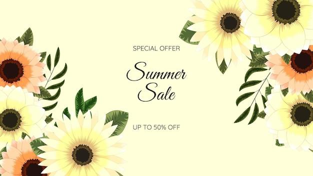 Mega flash summer sale promo-web-banner-blumenrahmen-hintergrundvorlage mit blumenblättern