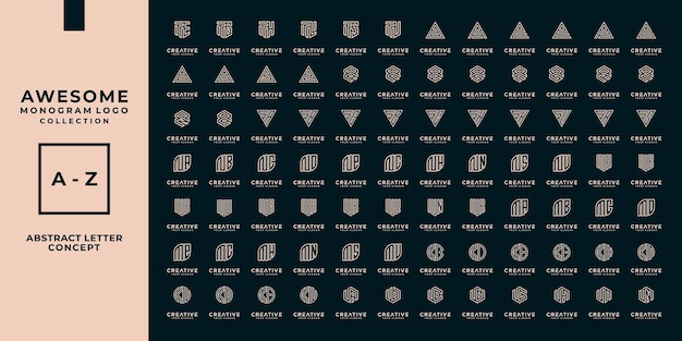 Mega-logo-buchstabe, monogramm, erstkollektion