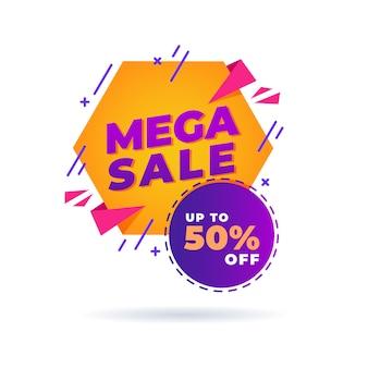 Mega sale banner, bis zu 50% rabatt