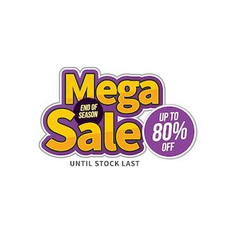 Mega sale banner, bis zu 80% rabatt