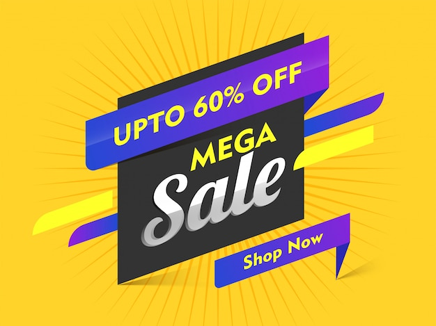Mega sale banner design mit 60% rabatt
