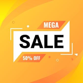Mega sale banner design vorlage mit farbverlauf orange