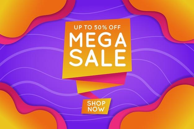Mega sale banner im origami-stil