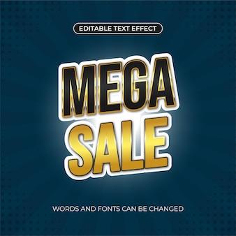 Mega-sale-banner mit goldenem text, bearbeitbarer texteffekt