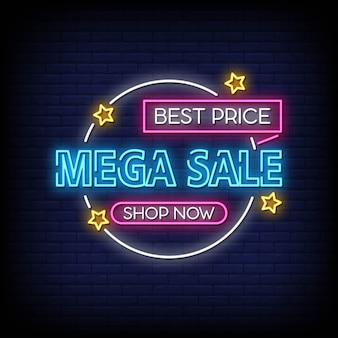 Mega sale banner neon signs style text vektor