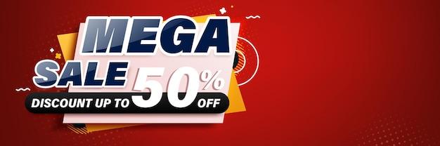 Mega sale banner template design für web oder social media.
