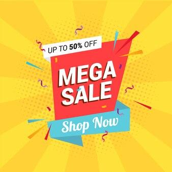 Mega sale banner template-design.