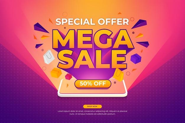 Mega-sale-banner-vorlage mit hellen telefon-float-artikeln