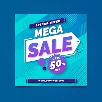 Mega sale farbverlauf im quadrat flyer
