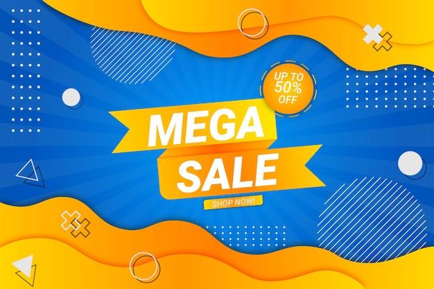 Mega sale hintergrund blau und gelb fluid style