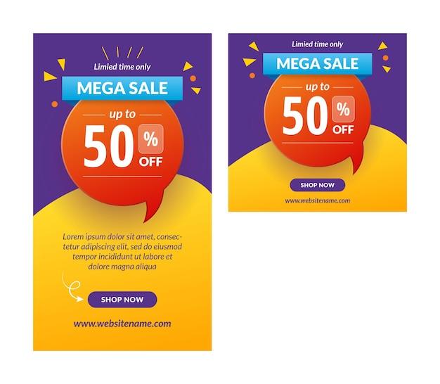 Mega sale instagram story banner vektorvorlage