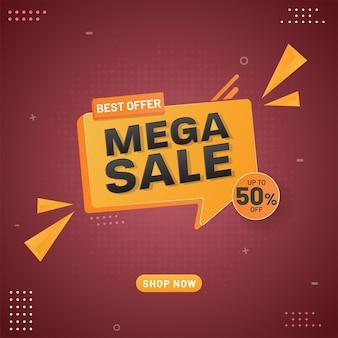 Mega sale poster design mit 50% rabatt und 3d gelben dreieckselementen auf rotem hintergrund.