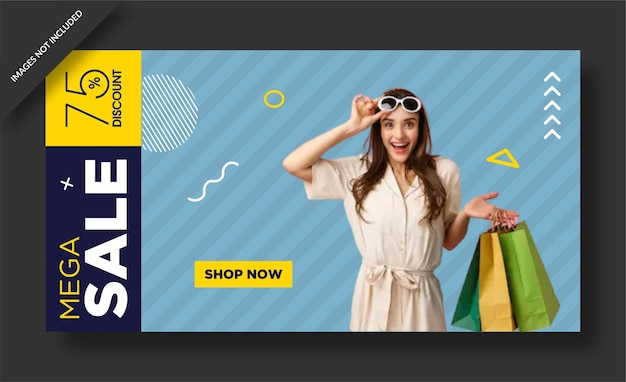 Mega sale web template banner