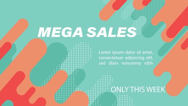 Mega sales banner mit fließenden dynamischen blasen