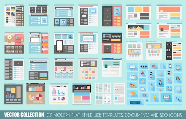 Mega-sammlung von flat style website-vorlagen