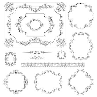 Mega set sammlungen von vintage-design-elementen.