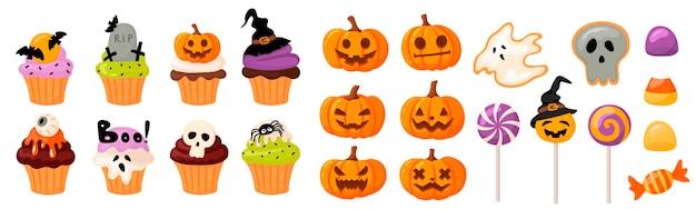 Mega set süßigkeiten und halloween kürbisse cupcakes und muffins kürbisse mit geschnittenen gesichtern
