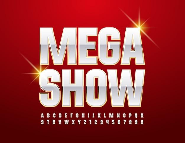 Mega show. schicke glänzende schrift. weiß und gold alphabet buchstaben und zahlen gesetzt