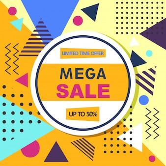 Mega-verkauf abstrakte memphis stil web-banner.