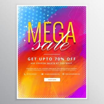 Mega-verkauf broschüre karte mit bunten farbe hintergrund