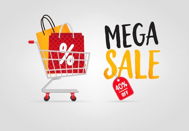 Mega-verkauf-schriftzug mit einkaufstüten im warenkorb