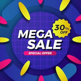 Mega-verkaufsangebot-banner-werbung social-media-post abstrakter kreis geometrische ovale banner-vorlage