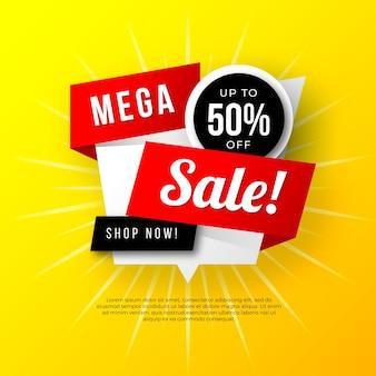 Mega- verkaufsfahnendesign mit gelbem hintergrund