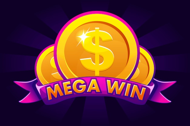 Mega win banner hintergrund für online casino, poker, roulette, spielautomaten, kartenspiele. ikone goldmünze.