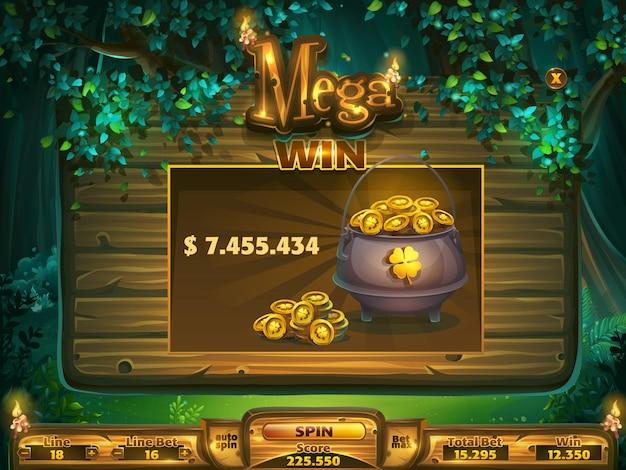Mega-win-fenster für das spielfeld für die benutzeroberfläche des spiels.