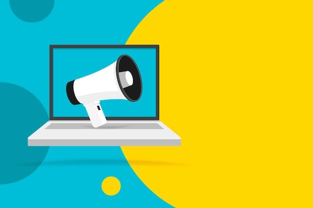 Megaphon auf laptop-notebook-computerbildschirm. farbkreis hintergrund. leere sprechblase. illustration.