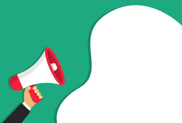 Megaphon in der hand mit einer wolke. lautsprecher im cartoon-stil. für ankündigungen oder wichtige informationen.